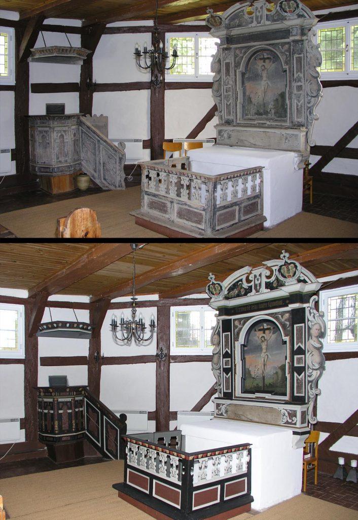 Dorfkirche Gallin, Barock-Altar und Kanzel. Oben: Vorzustand. Unten: Endzustand.