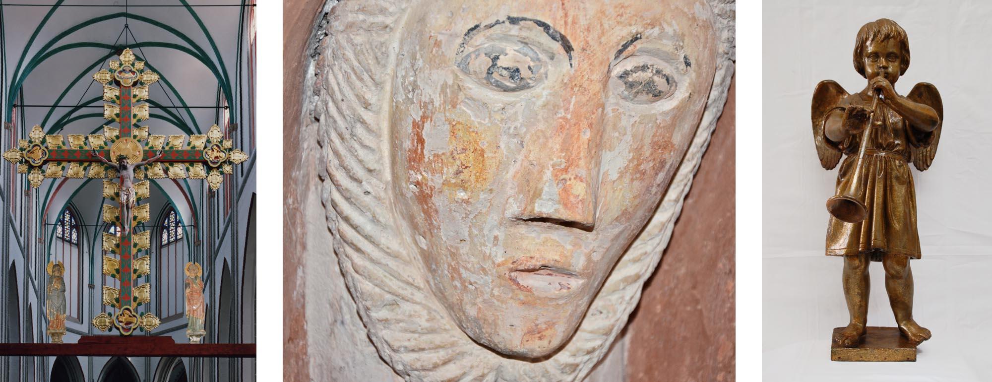 Restaurierung von Plastiken und Skulpturen. Links: Triumphkreuzgruppe im Dom zu Schwerin. Mitte: Romanischer Kapitellkopf, Stadtkirche Gadebusch. Rechts: Pappmaché-Figur, Kirche Groß Trebbow.