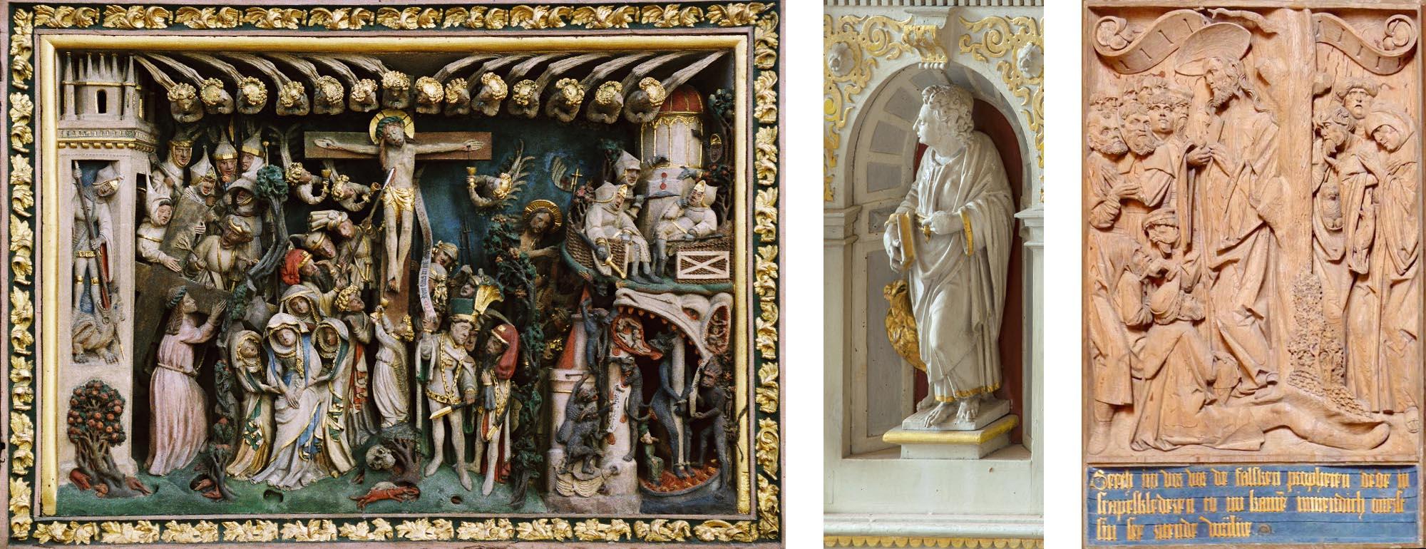 Restaurierung Sakralen Kunstgutes. Links: Lostealtar, Dom zu Schwerin. Mitte: Detail der Kanzel, Stadtkirche Gadebusch. Rechts: Kanzelrelief, Klosterkirche Zarrentin.