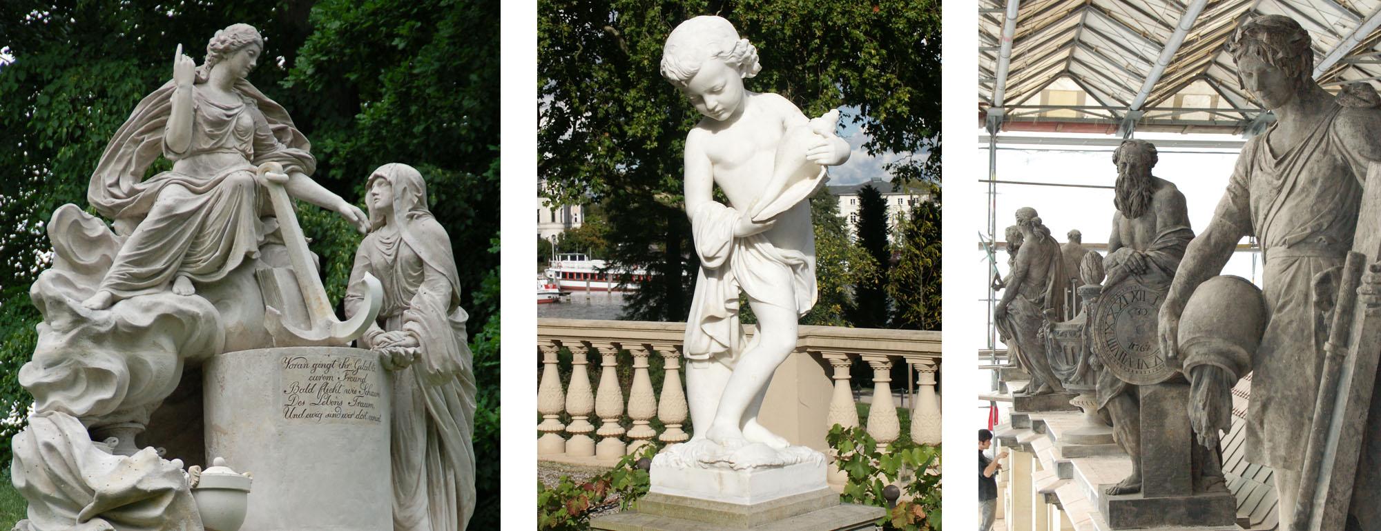 """Steinrestaurierung. Links: """"Die Hoffnung tröstet die Trauer"""", Schlosspark Hohenzieritz. Mitte: Marmorfigur von C. Genschow, Schloss Schwerin. Rechts: Attika-Figuren, Schloss Ludwigslust."""