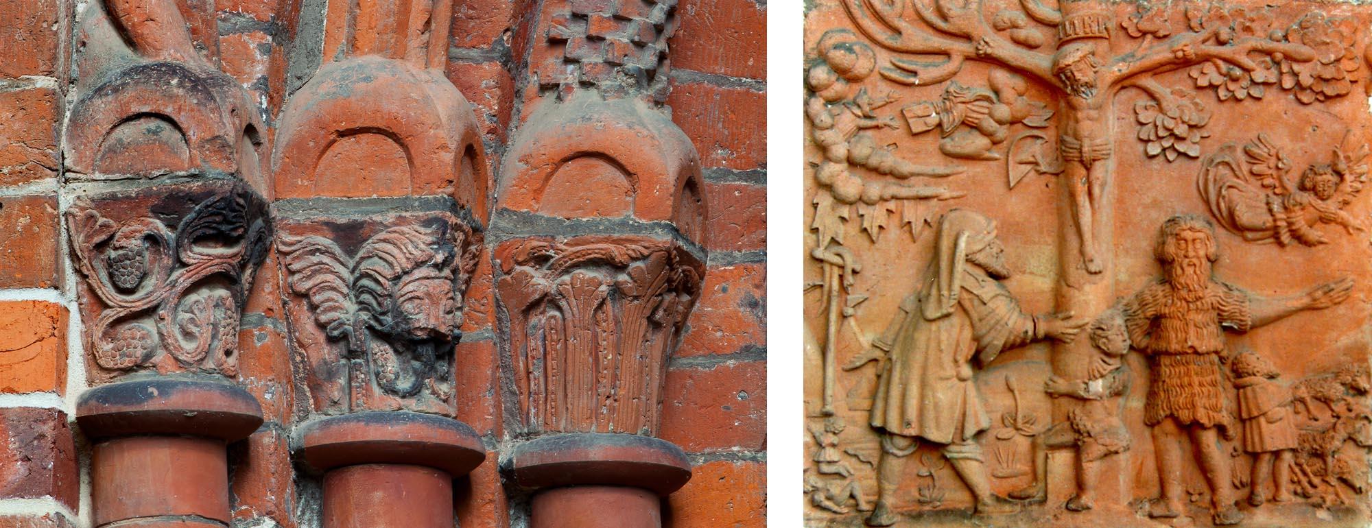 Terrakottarestaurierung. Links: Romanische Kapitellköpfe, Stadtkirche Gadebusch. Rechts: Terrakottatafel aus dem 16. Jh. von Stratius von Düren, Rathaus Gadebusch.