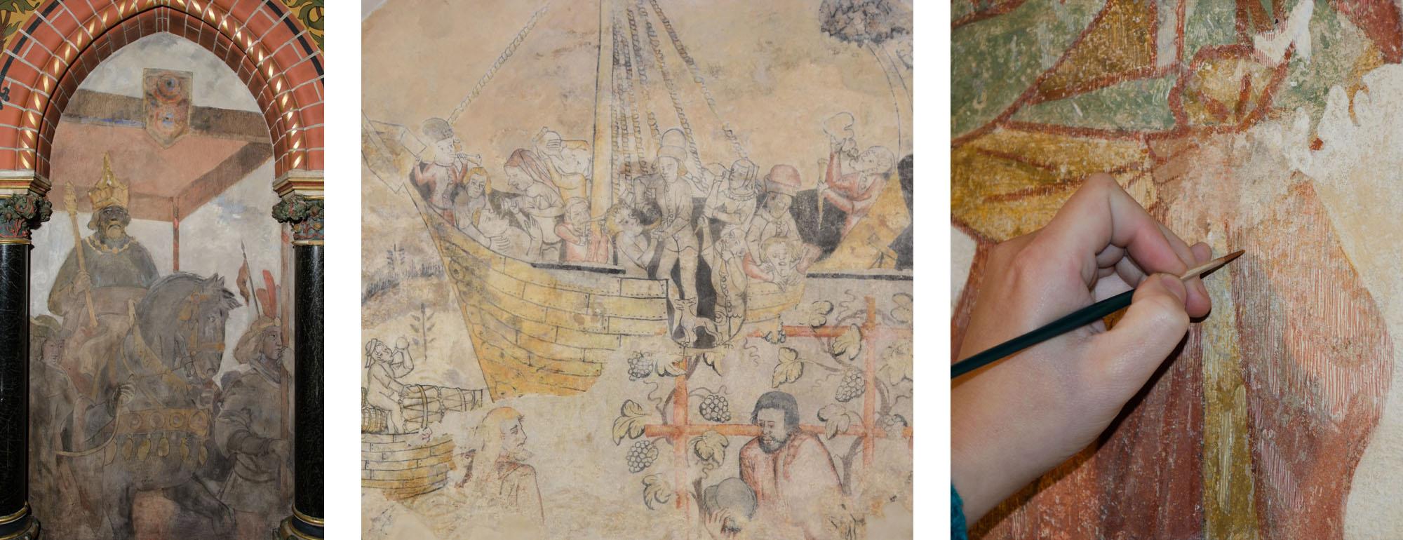 """Restaurierung von Wandmalerei. Links: Blendenmalerei, Bürgerschaftssaal, Rathaus zu Lübeck. Mitte: Koggenmalerei, Rathauskeller Wismar. Rechts: Strichretusche, """"Weltgericht"""" in der Stadtkirche Sternberg."""