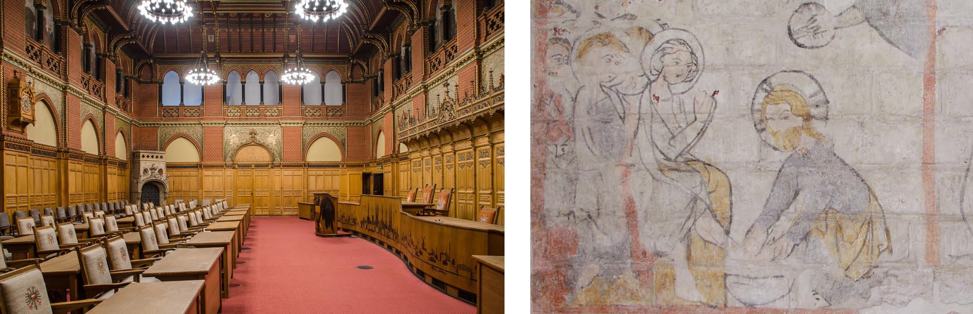 Restaurierung von Innenräumen und Wandmalerei